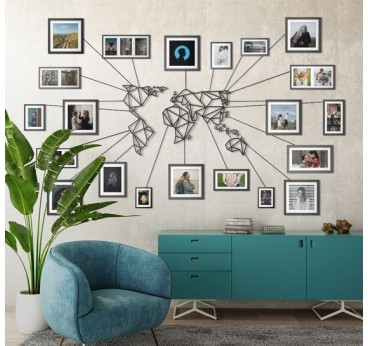 Décoration murale Métal Carte Monde avec ses cadres
