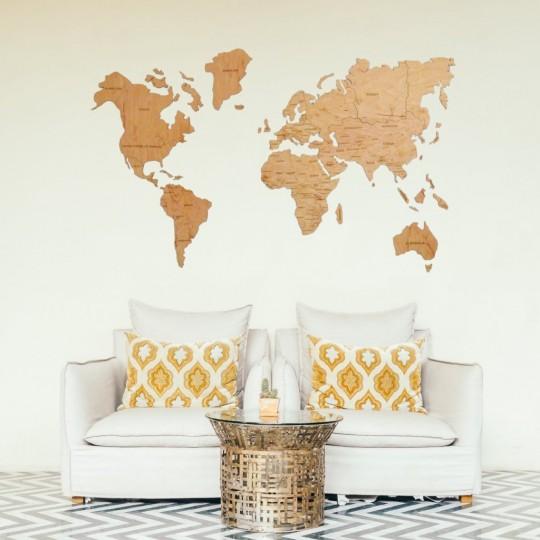 Decoration Bois Carte du Monde