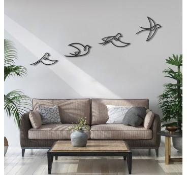 Décoration Métal Envol de plusieurs oiseaux dans un salon moderne