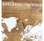 Worldmap Wood Decoration in white for interior