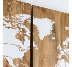 Triptyque de la carte du monde en bois avec un design blanc