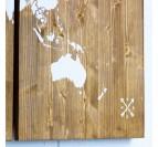 Tableau bois du planisphère en blanc dans 3 cadres décos