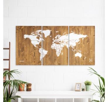 Wood Decoration World map XL in a boho interior