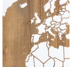 Wooden wall decoration of the world map for a modern touch
