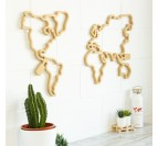 World map wall decoration in wood with natural color