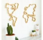 Carte du monde bois de jour avec sa couleur naturelle