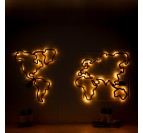 Leds wooden world map decoration at night