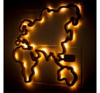 Wooden world decoration of Europe with leds for interior