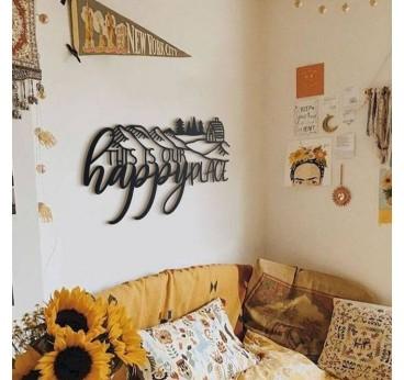 Metal decoration happy place in design interior