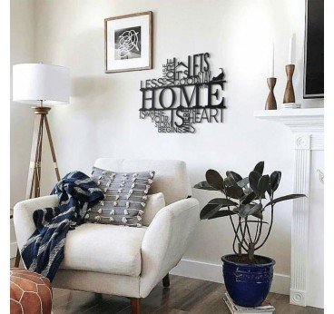 Home metal decoration with different words for a trendy interior