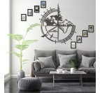 Metallic trophy trimens in a modern interior with the world map