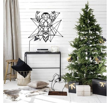 Diamond deer in metal with a modern interior decoration