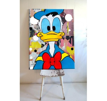 Tableau design pop art de Donal Duck par notre artiste avec couleurs éclatantes