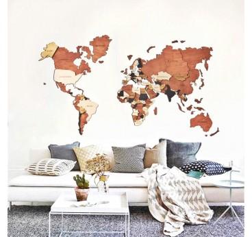 Décoration murale de la carte du monde en relief et multicolore