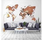 Wooden 3D world map wall decoration for living room