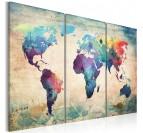 Tableau déco de la carte du monde en version multicolore sur trois panneaux