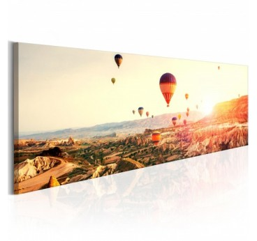 Hot air balloon wall design canvas for a landscape decoration