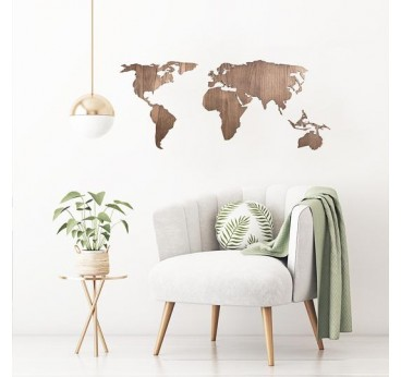 Natural wooden world map for a design living room with a moderne touch