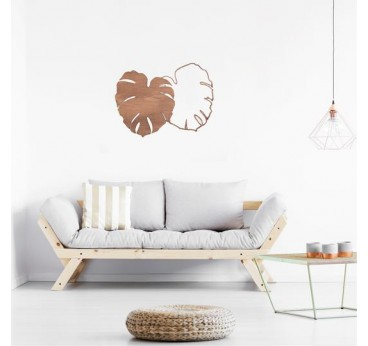 Wooden wall decoration of the monstera leaf for a boho interior