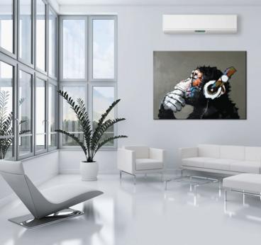Tableau peinture pop art de notre singe musicale dans une décoration murale mdoerne