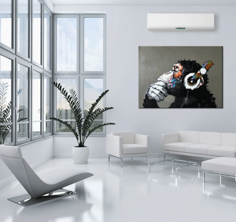 tableau peinture monkey music. Black Bedroom Furniture Sets. Home Design Ideas