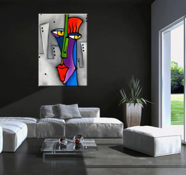 Pop Art Face Tableau Abstrait dans un salon contemporain