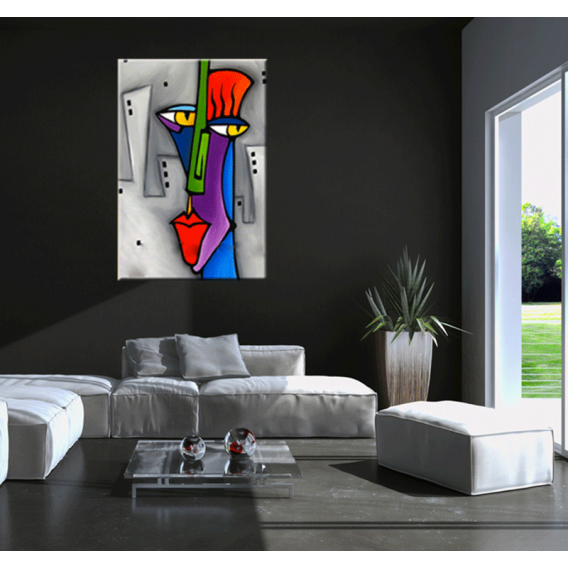 Pop art face abstract painting artwall and co for Decoration murale scrabble
