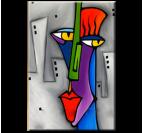 Toile peinture abstraite Pop Art Face pour un style contemporain avec des couleurs rouges et grises