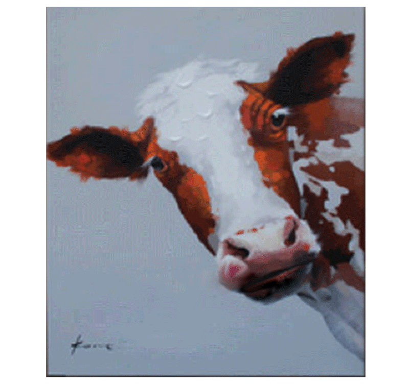 Cow Face Illustration Abstract Painting Artwall And Co
