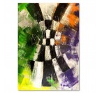 Damier wall art canvas with different colors for a living room decoration