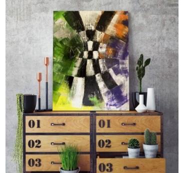 Tableau abstrait de salon avec différentes couleurs pour un intérieur moderne