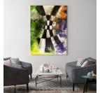 Tableau abstrait damier pour une touche colorée dans votre salon