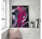 Modern living room with our pink abstract wall decoration