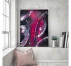 Décoration murale abstraite salon avec une touche rose