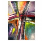 Wood frame abstract wall canvas art with different colors