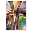 Tableau abstrait coloré pour un intérieur tendance avec du mauve, orange et violet