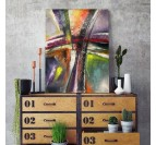 Tableau abstrait moderne multicolore pour une déco intérieure tendance et contemporaine.