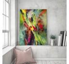 Tableau abstrait mural lumière avec différentes couleurs dans un salon moderne