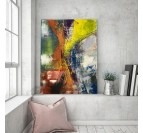 Living room wall decoration with our yellow abstract canvas print