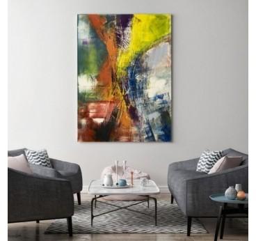 Ce tableau abstrait jaune vous permet de décorer vos murs avec une touche colorée et tendance