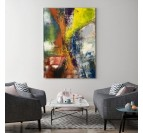 Yellow abstract wall canvas for an unique and multicolor interior decoration