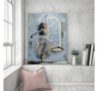 living room wall decoration of a dancing woman on canvas with a blue touch