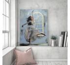 Déco murale salon avec notre tableau moderne de danseuse sur fond bleu