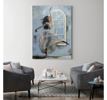 Blue design canvas art of a dancing woman to create a modern wall deco
