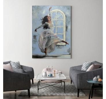 Tableau moderne danse bleue pour une décoration murale design tendance