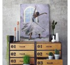 Design wall decoration canvas of a dancer in grey colors for a living room decoration