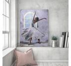 Tableau tendance d'une danseuse moderne dans son salon avec des couleurs grises