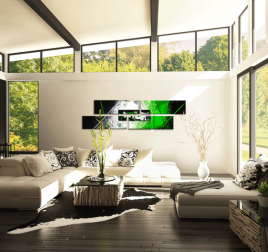 White and Green Visual Tableau Abstrait