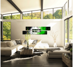 White and Green Visual Abstract Painting