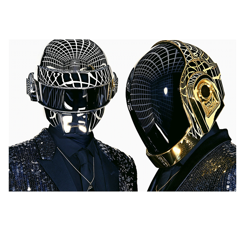 Gold and silver daft punk tableau dj for Daft punk mural